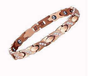 【k金首饰】镶钻锆石玫瑰金纯钛手链 钛钢磁性保健女士手镯