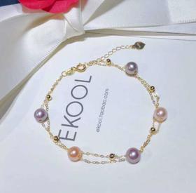 【K金手链】G18k金双层手链 精选4-5毫米天然淡水珍珠混彩