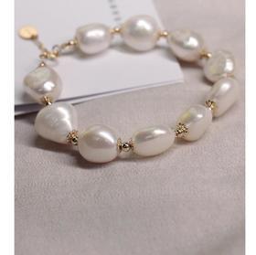 【K金手链】14k包金天然巴洛克异形珍珠手串手链