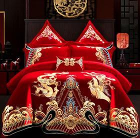 【婚庆套件】大红高档四件套绒棉贡缎提花绣花婚庆套件