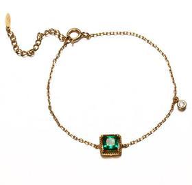 【K金手链】9K/14K黄金祖母绿锆手链