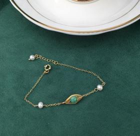 【K金手链】天然淡水珍珠手链 气质14k包金绕线翡翠手链