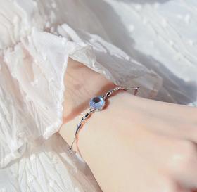 【k金手链】花冠925通体纯银蓝梦岛手链 会变色水滴珠蓝色水晶骨节链少女手饰