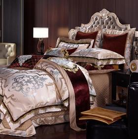 【婚庆套件】欧式婚庆床上用品四件套床单纯棉贡缎提花
