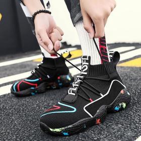 【网球鞋】运动潮鞋男中高帮加绒飞织休闲鞋增高嘻哈学生鞋