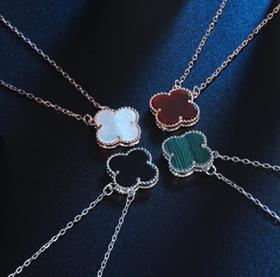 【K金项链】简约18K玫瑰金纯银项链女锁骨链不掉色四叶草