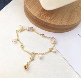 【K金手链】简约四叶草手链 创意14K包金水晶方块天然淡水珍珠手链