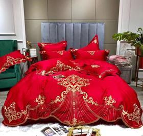 【婚庆套件】欧式高档贡缎纯棉四件套60支长绒棉刺绣花婚庆结婚房六件套