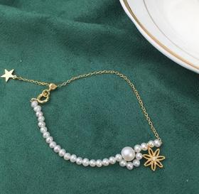 【K金手链】欧美古风新款天然淡水真珍珠手链 网红简约14k包金太阳花手链