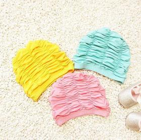 【泳帽】纯色儿童宝宝大号护耳布泳帽舒适褶皱长发粉色个性女童游泳帽