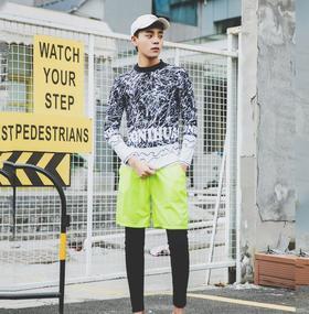 【泳衣】韩国长袖长裤分体沙滩裤男士泳衣跑男防晒休闲泳装