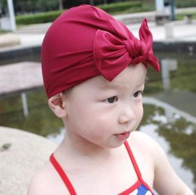 【泳帽】儿童泳帽跨境爆款涤纶腈纶宝宝蝴蝶结帽子好弹力纯色印花宝宝泳帽