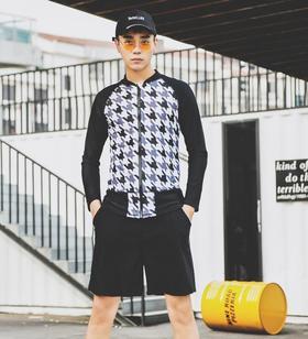 【泳衣】新韩国长袖分体沙滩裤男士游泳衣跑男防晒休闲泳装