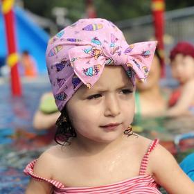 【泳帽】可爱卡通儿童泳帽 腈纶宝宝蝴蝶结帽子弹力纯色印花宝宝泳帽