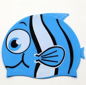 【泳帽】新款卡通儿童游泳帽 硅胶防水防晒男女宝宝通用鱼形泳帽