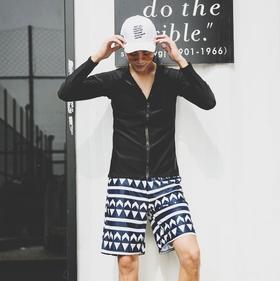 【泳衣】韩国长袖拉链分体沙滩裤男游泳衣跑男防晒休闲泳装