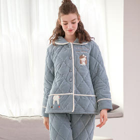 润微睡衣女时尚卡通加厚绒保暖舒适法兰绒三层夹棉家居服套装 斑斑流离