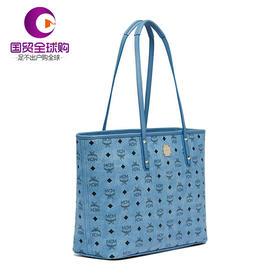 【香港直邮】MCM 新款经典logo女士蓝色双面印花时尚单肩购物手袋