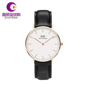 【香港直邮】Daniel Wellington 丹尼尔惠灵顿 女士黑色不锈钢/人造合成矿物玻璃腕表