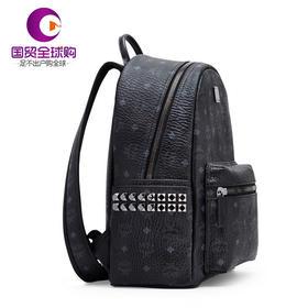 【香港直邮】MCM 女士黑色双肩包经典侧钉背包中小号