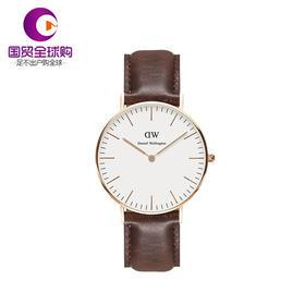 【香港直邮】Daniel Wellington 丹尼尔惠灵顿 女士棕色不锈钢/人造合成矿物玻璃腕表