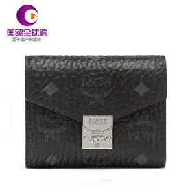【香港直邮】MCM 19年新款 女士黑色印花logo经典扣短款钱包