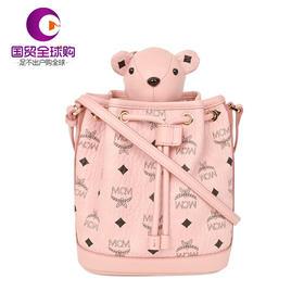 【香港直邮】MCM 女士粉色皮革抽绳老鼠单肩斜挎水桶包