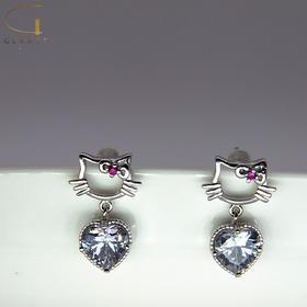 尚镁可爱猫吊钻耳钉 J90017