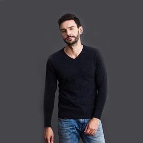 Soleil Kim 2019新款男士100%纯羊绒羊绒衫 绵柔舒适 冬日保暖必备 V领设计气质尽显
