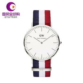 【香港直邮】Daniel Wellington 丹尼尔惠灵顿 男士蓝白红拼色表带不锈钢表盘手表