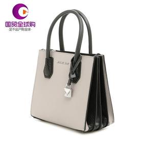【香港直邮】Michael Kors 迈克·科尔斯 女士灰色/黑色皮革手提单肩斜挎包