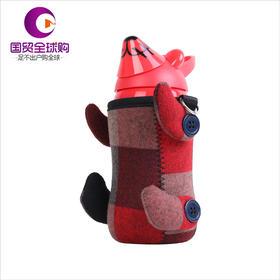 熊本士天才宝贝熊保温杯红色立体小动物多层喷漆260ml
