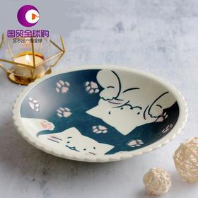 日本AITO CAT on SUNDAY美浓烧陶瓷深口盘猫咪趣味图案深皿钵