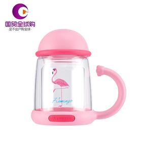 杯具熊网红双层耐热玻璃杯花茶杯过滤办公便携创意可爱水杯 320ML