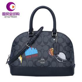 【香港直邮】Coach 蔻驰 女士黑色PVC手提包贝壳包