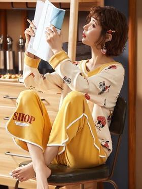 睡衣女春秋季纯棉长袖两件套装韩版甜美秋冬款秋季全棉家居服秋天