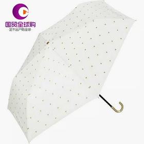 日本wpc太阳伞遮光晴雨两用便携折叠遮阳伞小清新防晒防紫外线UV99% 金色爱心白色