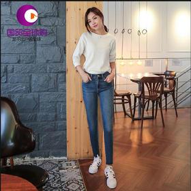 韩国Let's diet 加绒牛仔裤 面料舒适伸展性好均码