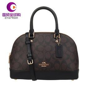 【香港直邮】Coach 蔻驰 女士C纹黑色边PVC配皮单肩包手提包
