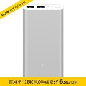 小米10000毫安 新移动电源2 /充电宝 双向快充 超薄小巧便携 银色(新版)