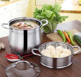 【蒸锅】不锈钢汤锅304加高复底家用炖锅带蒸格特高大容量蒸锅