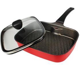 【煎锅】盖上锅盖后油烟会向下走韩国牛排锅方形条纹煎锅
