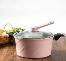 【蒸锅】韩国didinika麦饭石汤锅蒸锅炖锅正品大红色粉色魔力锅