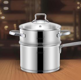 【蒸锅】304不锈钢小蒸锅家用1层蒸笼单层单柄奶锅多用18cm