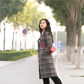 VIPHUIOS格子双面羊绒毛呢女装秋冬季中长款大衣 18196
