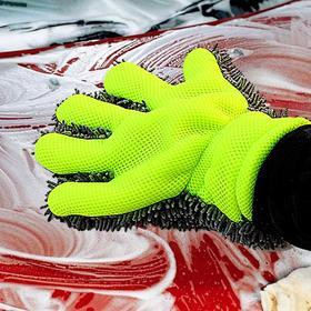【清洁工具】汽车清洁洗车工具雪尼尔手套双面毛绒擦车手套抹布加厚