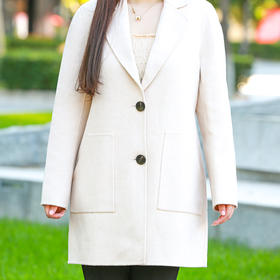 VIPHUIOS国民风米色双面魔幻羊绒大衣 18291