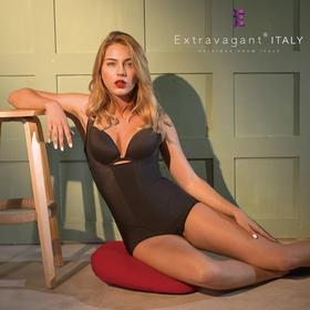 意大利extravagant咖啡因燃脂超薄连体塑身体雕衣 收腹束腰燃脂塑形-三角款