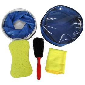 【清洁工具】洗车手套工具套装组合汽车清洁礼品套装 便携式水桶海绵5件套毛巾