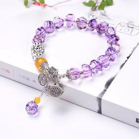 日进斗金*天然紫水晶不定型切面多宝原创手链